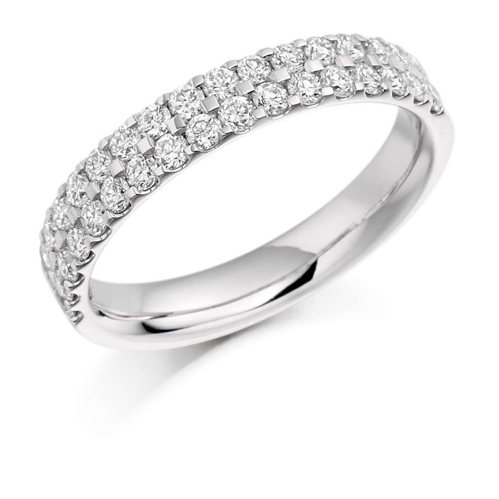 Lily - Double Row Micro-Claw Set Diamond Wedding Ring