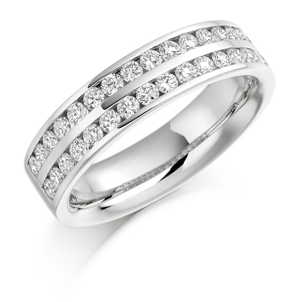 Penelope - Double Row Channel Set Diamond Wedding Ring