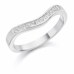 Mila - Curved Channel Set Diamond Wedding Ring