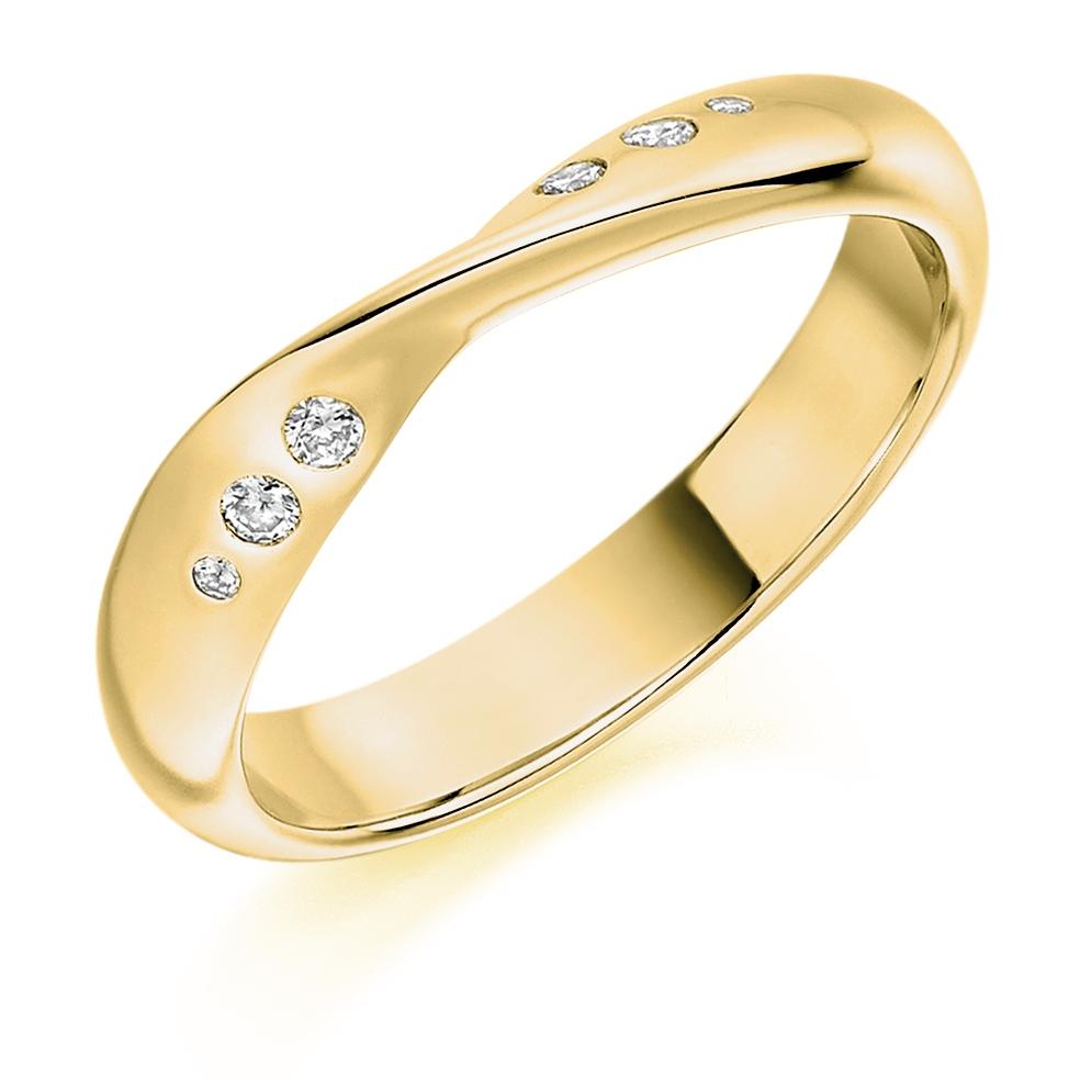 Brooklyn - Shaped Flush Set Diamond Wedding Ring