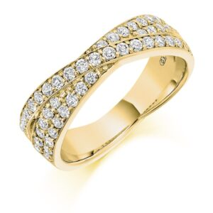 Camila - Shaped Grain Set Diamond Wedding Ring