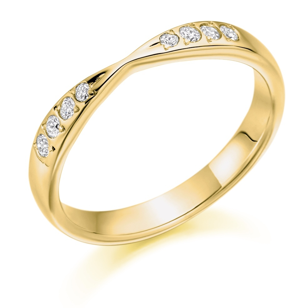 Aubrey - Shaped Grain Set Diamond Wedding Ring