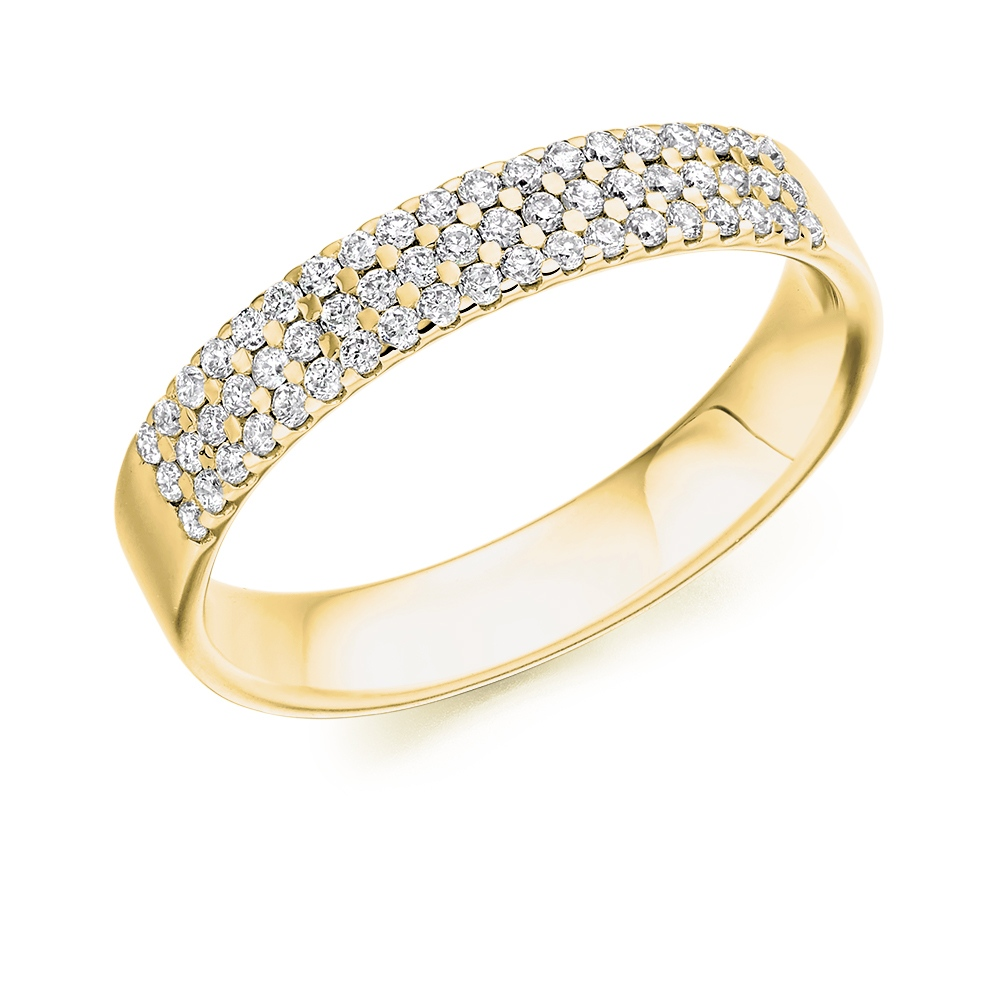 Hazel - Triple Row Micro-Claw Set Diamond Wedding Ring
