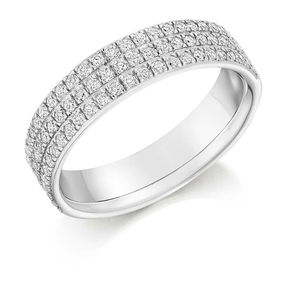 Zoe - Triple Row Grain Set Diamond Wedding Ring
