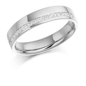Leah - Offset Channel Set Diamond Wedding Ring