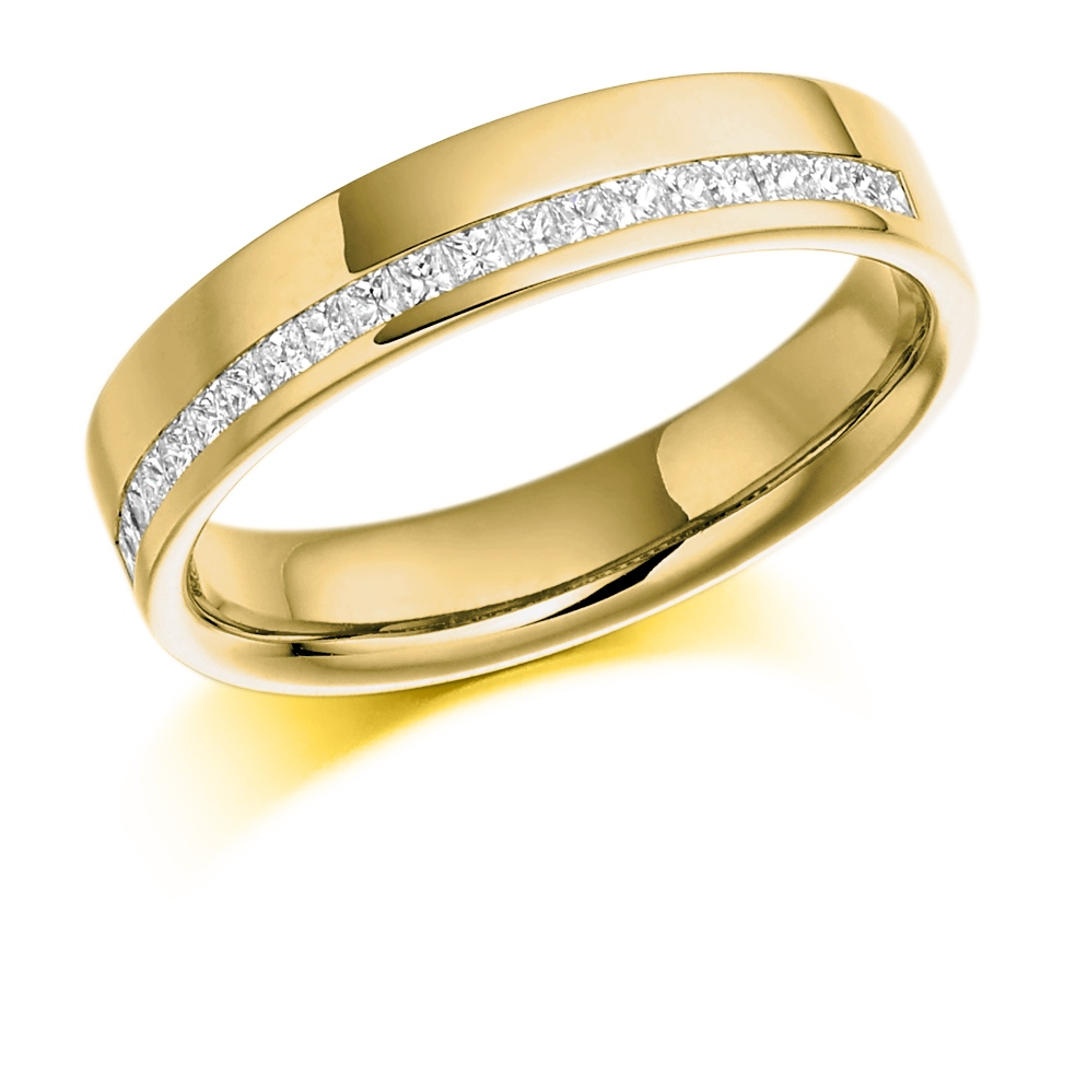 Leah - Offset Channel Set Diamond Wedding Ring